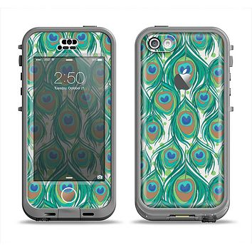 The Peacock Green Feather Bundle Apple iPhone 5c LifeProof Nuud Case Skin Set