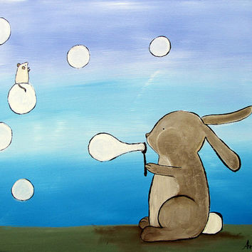 Kids Wall Art,  Bubble Blowing Rabbit Painting, Woodland Nursery