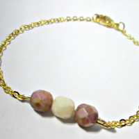 Cream and Pink Bead Bracelet