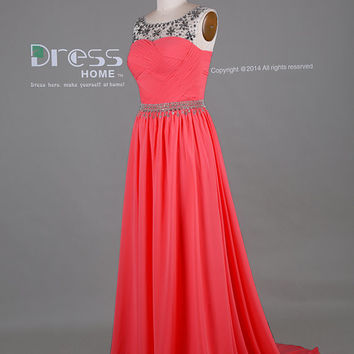 Watermelon Red Beading Belt Chiffon Long Prom Dress/Chiffon Prom Dress/Long Prom Dress/V Back Prom Dress/Prom Dresses 2015 DH391