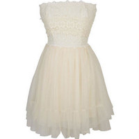 Strapless Lace And Tulle Dress