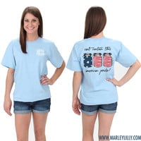 Monogrammed American Flag Short Sleeve T-Shirt | Patriotic Clothing | Marley Lilly