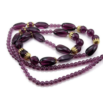 Purple Glass Necklace, 35 Inches, Vintage Jewelry, Amethyst Color, Bead Necklace, Purple Necklace, Gold Tone Caps, Vintage Necklace