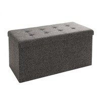 Seville Classics Foldable Tufted Storage Bench/Ottoman with Bin, Dark Ash Grey - Walmart.com