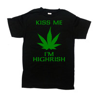 St Patricks Day Shirt Weed T Shirt St Pattys Day Outfit Marijuana Clothing St Paddys Day TShirt Stoner Gifts Kiss Me Mens Ladies Tee - SA738