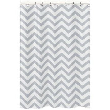 Sweet Jojo Designs Chevron Shower Curtain in Grey and White
