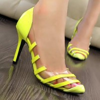 Candy Color High Heel Shoes with See-through Design