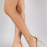 Women's Anne Michelle Nubuck Ankle Strap Open Toe Stiletto Heel
