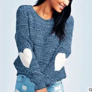 Bella Heart Elbow Patch Sweater