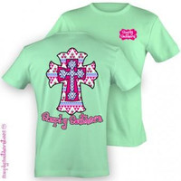 Simply Southern Funny Aztec Cross God Sweet Girlie Bright T Shirt