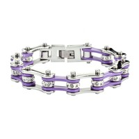 Caregiver Lavender and Silver Stainless Steel Chain Bracelet with Rolling Crystals