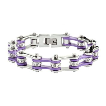 Lavender and Silver Stainless Steel Chain Bracelet with Rolling Crystals