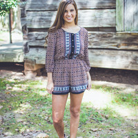 Fall Charm Romper in Brown