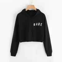 Drawstring Black Crop Hoodies Letter Print Women Graphic Long Sleeve Hooded Sweatshirt Autumn Basic Brief Bts Hoodies