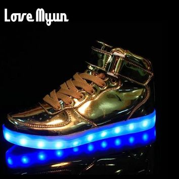 Mens lights up led luminous shoes high Top Shoes Gold Sliver luminous shoes LED glow USB charge Unisex adults neon baske DD-62