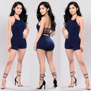 Blue Back Lace-up Halter Playsuit