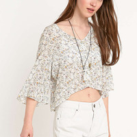 Pins & Needles Angel Sleeve Blouse in Ivory - Urban Outfitters