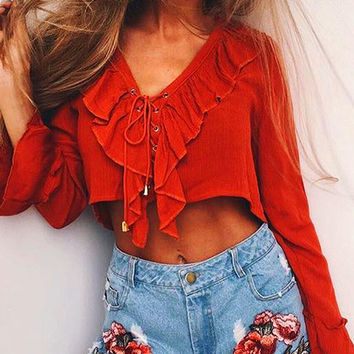 Orange Lace Up Ruffle Bell Sleeve Crop Blouse