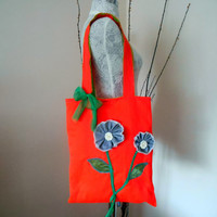 Mother's Day,Tote Bags,Women's Bags,Orange Bags, Accessories bags,handmade bags, Style Bag,Tablet Case, Summer Bag, Flower Bag, Shoulder Bag