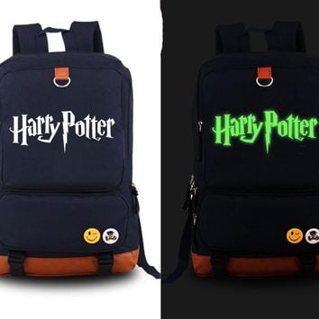 Harry Potter Backpack anime Canvas Student Luminous Schoolbag Unisex Travel Bags packsack