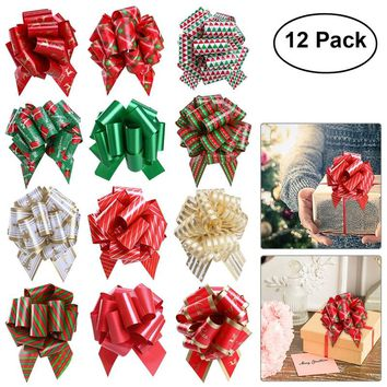 12Pcs Christmas Gift Pull Bows with Ribbon Strings for Gift Wrapping Floral Decoration Weddings Party Decor