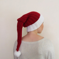 CHRISTMAS LONG HAT... Ho ho ho!  Unisex Christmas hat,  red and white hat, pom pom  hat for women or men, unisex hat, crochet beret