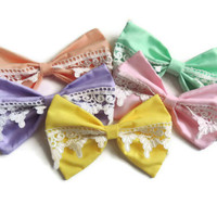 3 Pack of Big Pastel Lace Hair Bows - Choose Your Colors