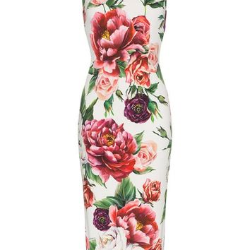 Dolce & Gabbana Sleeveless Peony Print Fitted Dress - Farfetch