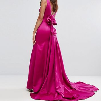 Bariano Fishtail Satin Maxi Dress With Structured Bow Back at asos.com
