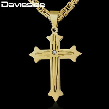 Davieslee 2-Layer Cross Pendant Necklace Mens Chain Byzantine Box Link Stainless Steel Silver Gold Black DKPM90