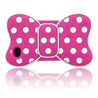 FiveBox 3d Dot Frame Bowknot Bow Butterfly Soft Silicon Case Cover for IPhone 5/5S - Hot Pink/White