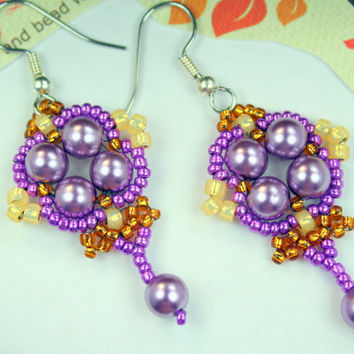 Dangle earrings, purple and topaz handmade bead woven earrings, pearls and seed beads