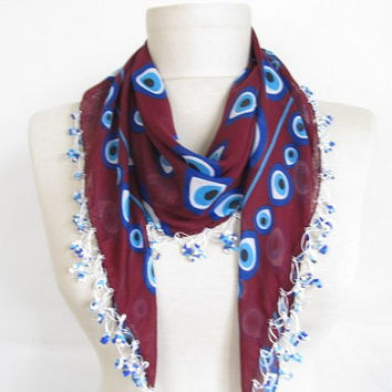 evil eye - scarfs or scarves- turkish scarves - Oya Scarf- scarf fashion -floral scarf -scarf accessories -scarf sale