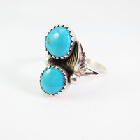 Sterling Silver VintageTurquoise Ring, Native American Ring, Navajo Ring, Christmas Gift for Her, Vintage Turquoise Ring Size 7