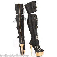 "Contigo Black Leather Thigh High Buckle Platform Boot 7"" Heel"