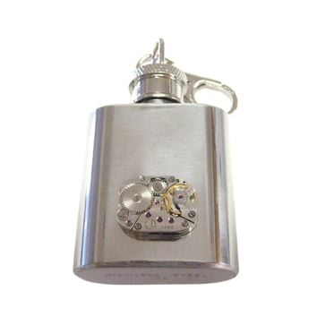 1 Oz. Stainless Steel Key Chain Flask with Steampunk Rectangular Watch Gear P...