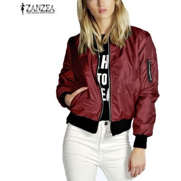 ZANZEA thin Jacket Tops Celeb Bomber Long Sleeve Coat Casual Stand Collar Slim Fit Outerwear Plus Size