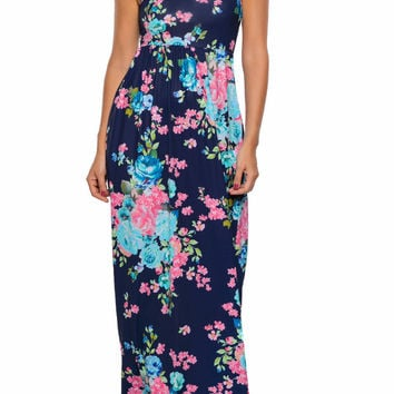 Navy Floral Print Sleeveless Long Boho Dress LAVELIQ