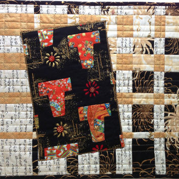 Small Quilt, Asian Inspired Art, Kimono Quilt, Fiber Art, Black Gold Red Cream Art, Wall Hanging, Quiltsy Handmade