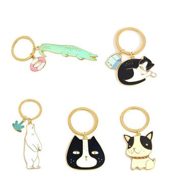 Cute Animal Keychain Dog Black Cat Kitty Polar Bear Crocodile Fox Key Chain Corgi Bulldog Puppy  Keyring Accessories Pet Jewelry