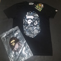 cc spbest Men's A Bathing Ape Bape Tee Space Camo Black