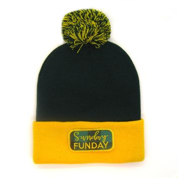 Wisconsin Beanie Green and Gold - Sunday Funday Pom Pom Hat