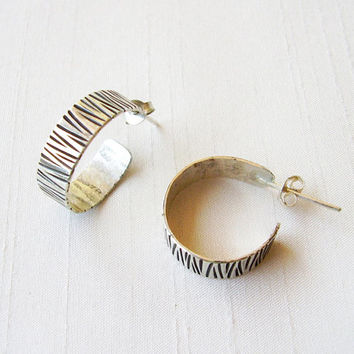 Sterling Silver Hoop Earrings Zebra Texture - Black stripes in sterling silver - Contemporary Jewelry - Original Hoop Earrings Everyday