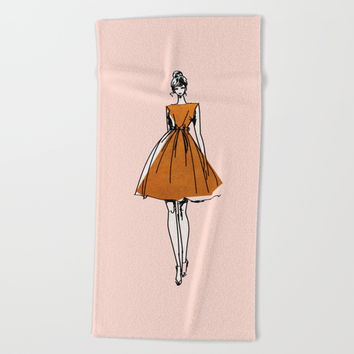 Little Copper Dress Beach Towel by cadinera