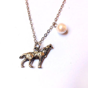 Howling Wolf in the Full Moon necklace, wild dog charm and faux pearl bead