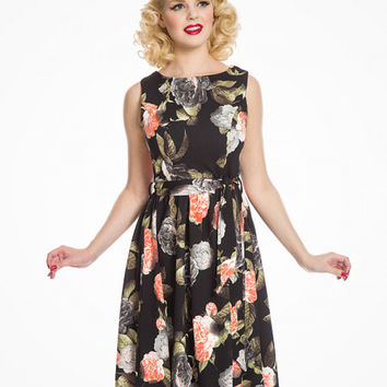 'Audrey' Ebony Rose Swing Dress | Vintage Inspired Fashion | Lindy Bop