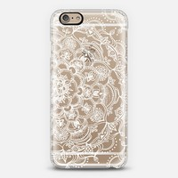 Fancy White Lace Mandala on crystal transparent iPhone 6 case by Micklyn Le Feuvre | Casetify