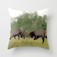 Bull Elk Fighting  Throw Pillow by North Star Artwork