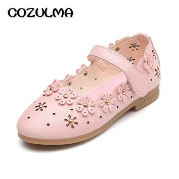 COZULMA Spring Summer Kids Casual Shoes Girls Princess Dress Party Shoes Baby Girls Flower Pu Leather Anti-Slip Soft Bottom Shoe