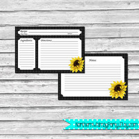4x6 Recipe Cards – Retro Sunflowers on Black Polka Dots – Printable Bridal Shower, Hostess, or Housewarming Gift – INSTANT DOWNLOAD
